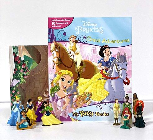 Livro Princesas Grandes Aventuras com 10 Miniaturas e Cenári