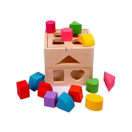 Brinquedo Didático Para Bebês Caixa Com Blocos Geométricos
