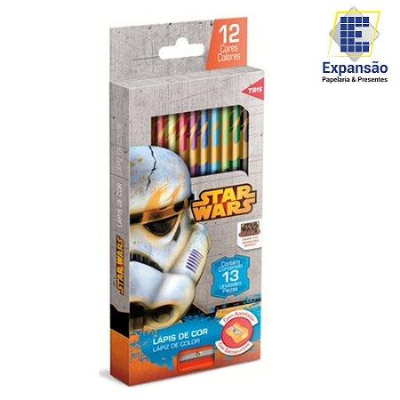 Lápis De Cor Com Apontador Star Wars - 12 Cores