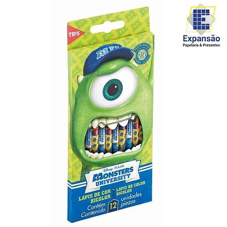 Lápis de Cor Tris Monsters University Ponta Dupla 12 Unidades