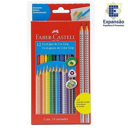 Lápis De Cor Longo Ecolapis Grip 12 Cores + 2 Lapis - Faber Castell