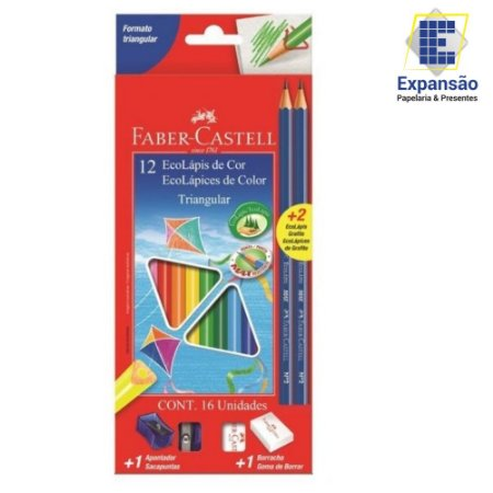Kit Escolar Lápis de Cor Triangular 12 cores + 2 Lápis + 1 Borracha + 1 Apontador Faber-Castell