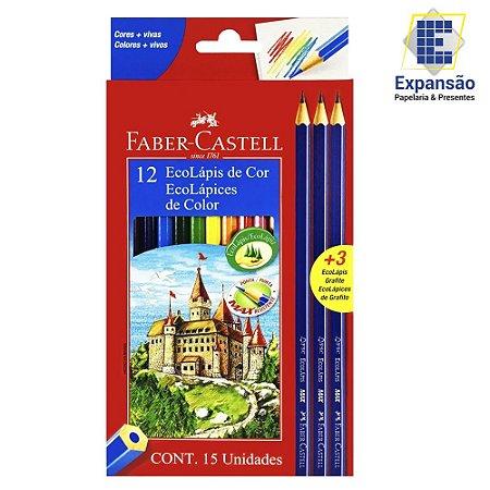 Lápis de Cor 12 cores+ 3 EcoLápis Grafite Faber