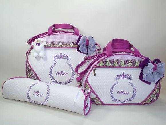 e94e83d992f75 Kit 2 Bolsas Maternidade com nome do bebê Personalizadas com o nome do seu  filho!