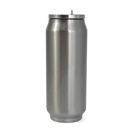 Lata Térmica para Sublimação em Aço Inox Prata com Parede Dupla - 500ml