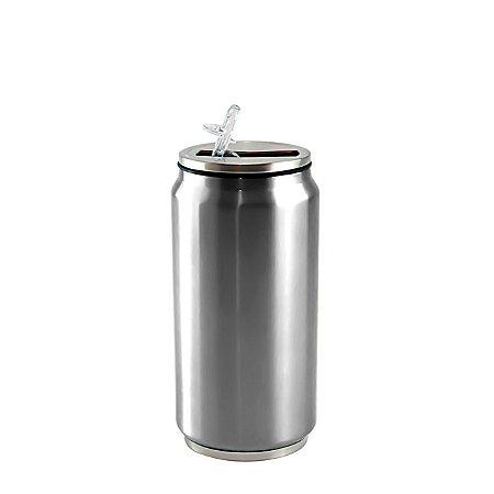 Lata Térmica para Sublimação em Aço Inox Prata com Parede Dupla - 350ml