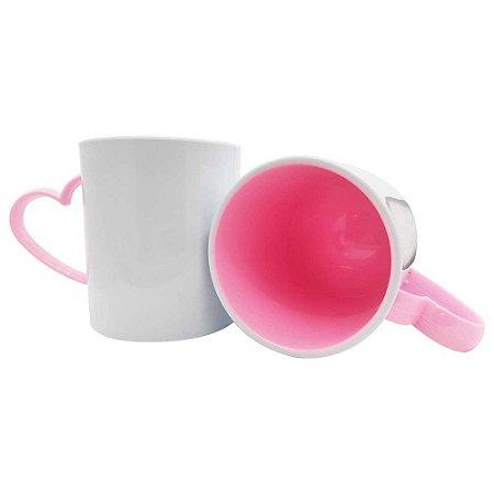 Caneca de Polímero para Sublimação Alça de Coração Rosa Bebê