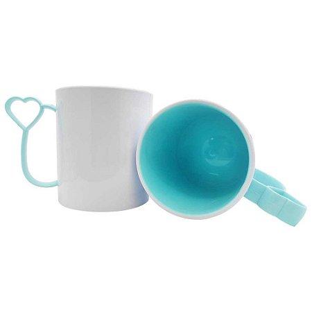 Caneca de Polímero para Sublimação Alça coraçãozinho Azul Bebê