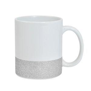 Caneca para Sublimação de Cerâmica Base Glitter Prata