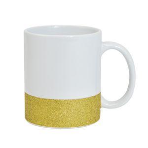 Caneca para Sublimação de Cerâmica Base Glitter Dourada