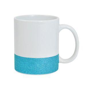 Caneca para Sublimação de Cerâmica Base Glitter Azul