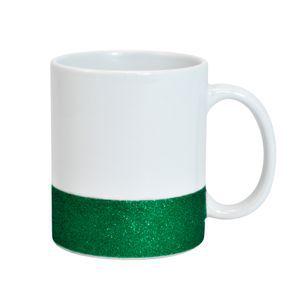 Caneca para Sublimação de Cerâmica Base Glitter Verde