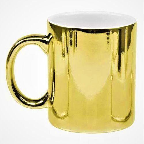 Caneca de Porcelana Cromada p/ Sublimação - Dourada