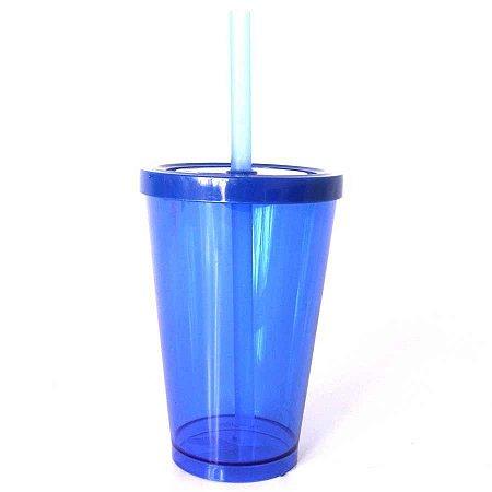 Copo Happy 350ml - Azul Neon