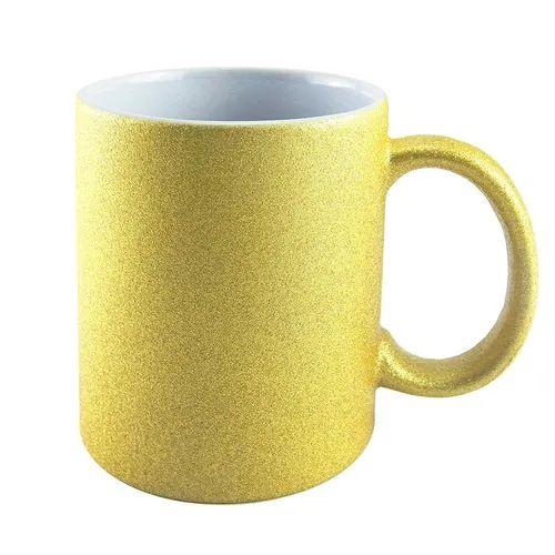 Caneca para Sublimação de Cerâmica Glitter Dourada