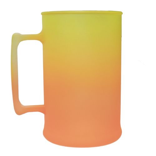 Caneca para Chopp Jateada 450ml - Amarelo/Laranja