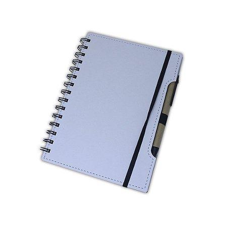 Caderno de Anotação branco c/ elástico e caneta