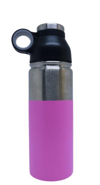 Garrafa Aluminio c/ base Rosa - 600ml