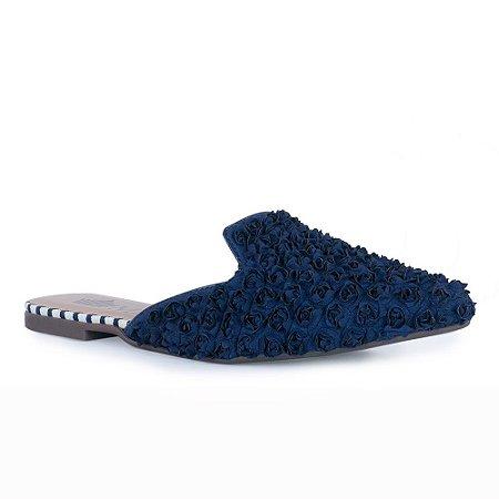 Sapato Mule Bico Fino de Cetim em Florzinhas - 374047