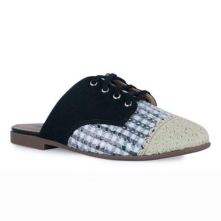 Sapato Mule Bico Redondo Oxford Paetês - 415011