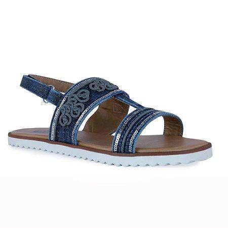 Sandália Rasteira Jeans Flat Bordada e Sola Branca - 281003