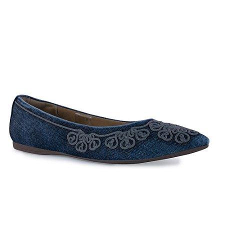 Sapatilha Jeans Bico Fino Bordada - 375031