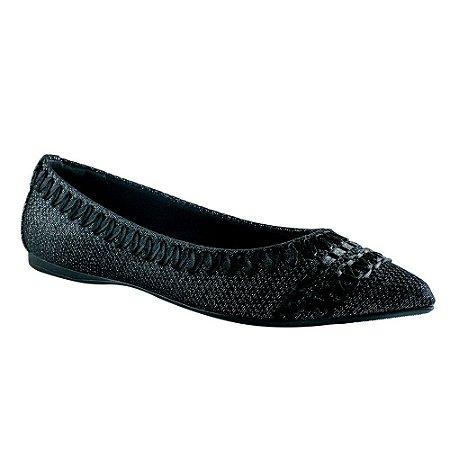 22a269a76 Sapatilha Bico Fino Preta com Fita de Cetim - 375032 - Miss Shoes ...