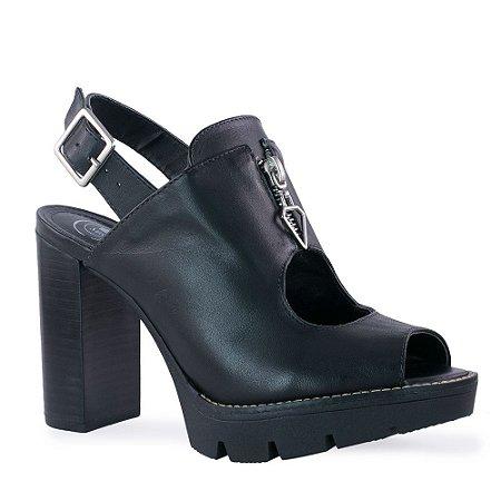 Sandal Boot Salto Grosso Preto com Ziper Frontal - 7603