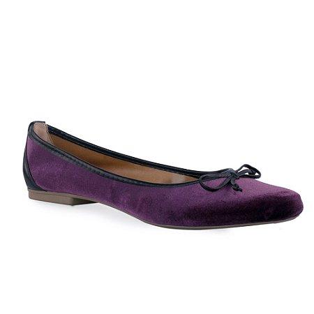 Sapatilha de Veludo Bico Fino Violeta com Lacinho - R18