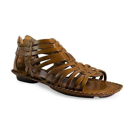 Sandália em Couro Tiras Ziper Traseira Tan - 186 D