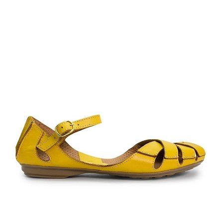 Sapatilha em Couro Confort Amarelo - 1414