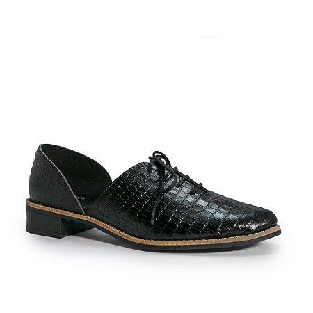 Sapato Oxford Couro Croco com Aberturas nas Laterais - 522.187