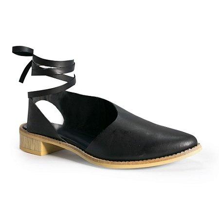 Sapato em Couro , Saltinho Madeira e Amarração Tornozelo - 2661