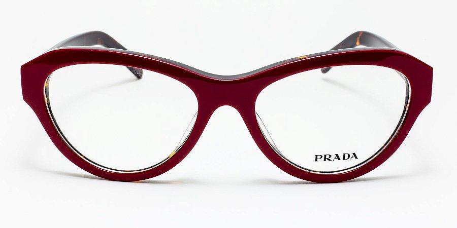 bfe1fbdf7f854 Óculos Prada Vermelho Acetato Gatinho Ref  VPR25RV Tamanho 55 ...