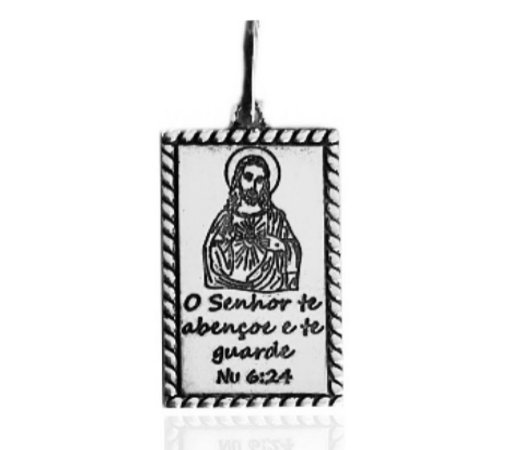 Pingente Retangular Cristo e Frase envelhecido Prata 925
