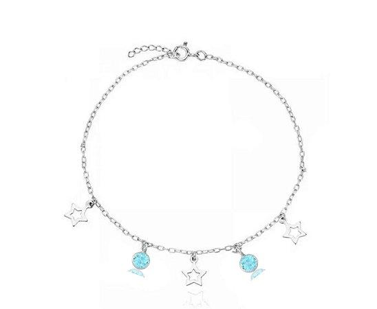 Tornozeleira com Pingente Estrela e Ponto de Luz Azul Claro Prata 925