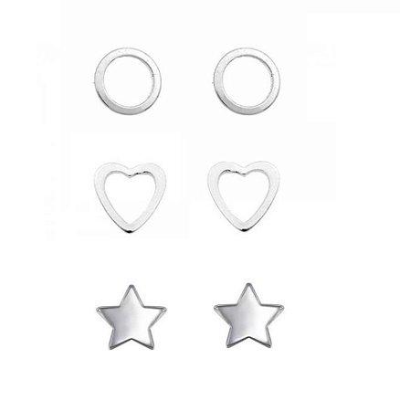Kit Brinco Trio Círculo Vazado Coração Vazado e Estrela Prata 925