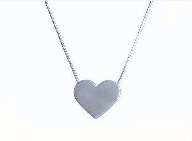 Colar Coração com Galeria 12 mm Prata 925