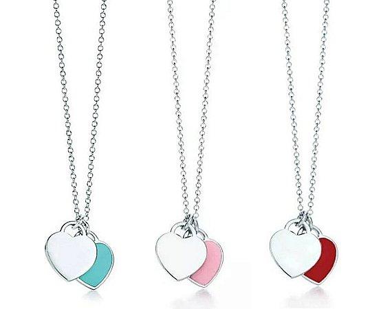 COLAR Dois Corações Turquesa Rosa Vermelho Prata 925