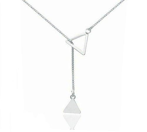 Colar Gravata Dois Triângulos Prata 925