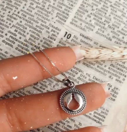 Colar com Pingente Mandala Nossa Senhora Aparecida Prata 925