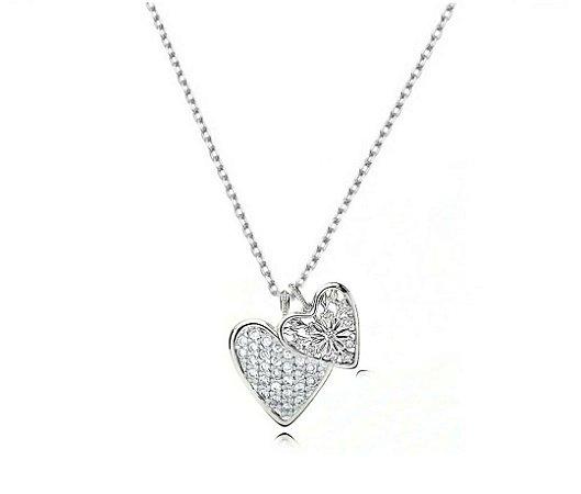 Colar Dois Corações Cravejado com Zirconia Prata 925
