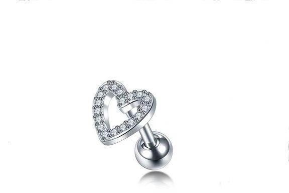 Piercing para Tragus Coração com Pedra de Zirconia Semi Joia com Aço Cirúrgico