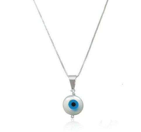 Colar Olho Grego com Madre Pérola Prata 925