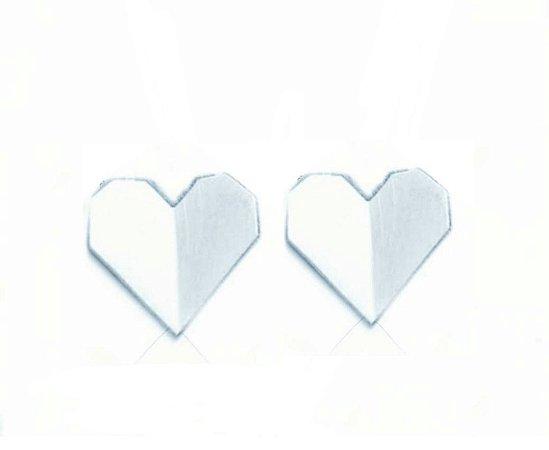 Brinco Coração Origame Prata 925