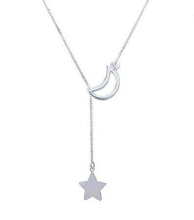 Colar Gravatinha Lua e Estrela Prata 925