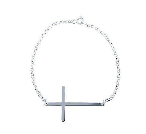 Pulseira Cruz Deitada Prata 925