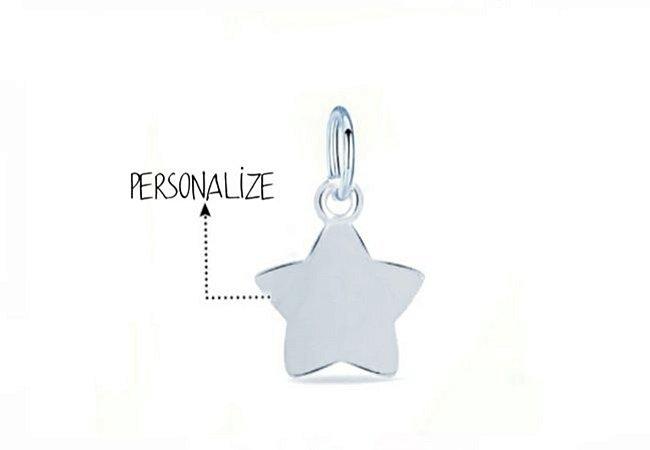 Pingente Estrela Personalizado 15mm Prata 925