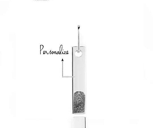 Pingente Plaquinha Retangular Personalizado Digital Prata 925