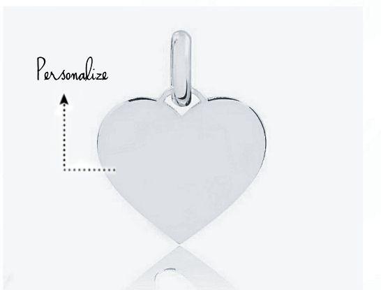 Pingente Coração Personalizado 15mm Prata 925